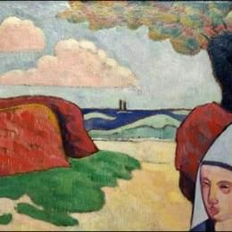 《干草堆里的布雷頓女人》埃米爾·伯納德(Emile Bernard)高清作品欣賞