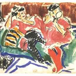 《沙發上的兩個女人》恩斯特·路德維希·克爾希納(Ernst Ludwig Kirchner)高清作品欣賞