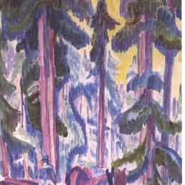 《森林中的小車》恩斯特·路德維希·克爾希納(Ernst Ludwig Kirchner)高清作品欣賞
