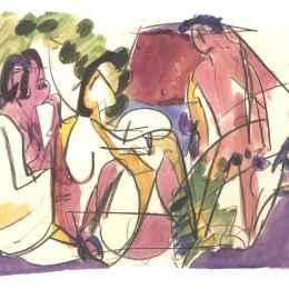 《兩個坐著的女人和一個大步走的男人》恩斯特·路德維希·克爾希納(Ernst Ludwig Kirchner)高清作品欣賞