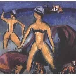 《海上的兩個女人》恩斯特·路德維希·克爾希納(Ernst Ludwig Kirchner)高清作品欣賞