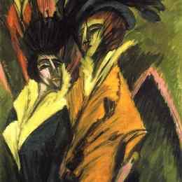 《大街上的兩個女人》恩斯特·路德維希·克爾希納(Ernst Ludwig Kirchner)高清作品欣賞
