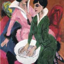 《兩個有下沉的女人》恩斯特·路德維希·克爾希納(Ernst Ludwig Kirchner)高清作品欣賞