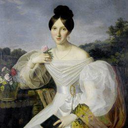 《一位身穿白色連衣裙、披著維也納風景畫的披肩的女士》費爾迪南德·喬治·瓦爾特米勒(Ferdinand Georg Waldm&amp#252ller)高清作品欣賞