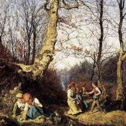 《Wienerwald的早春》費爾迪南德·喬治·瓦爾特米勒(Ferdinand Georg Waldm&amp#252ller)高清作品欣賞