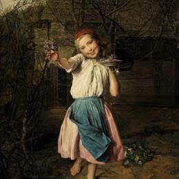 《紫羅蘭女孩》費爾迪南德·喬治·瓦爾特米勒(Ferdinand Georg Waldm&amp#252ller)高清作品欣賞