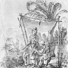 《帶雨傘的女士》弗朗索瓦·布歇(Francois Boucher)高清作品欣賞