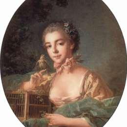 《藝術家女兒的肖像》弗朗索瓦·布歇(Francois Boucher)高清作品欣賞