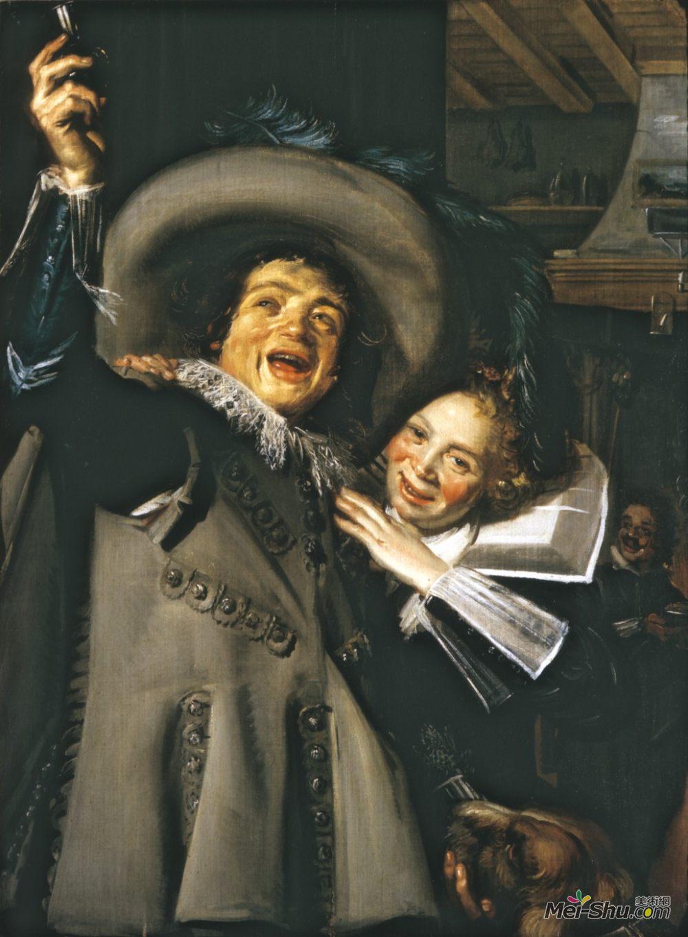 弗朗斯·哈尔斯(Frans Hals)高清作品《Young Man and Woman in an Inn (Yonker Ramp and His Sweethear》