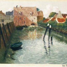 《水磨機通道》弗里茨·索爾洛(Frits Thaulow)高清作品欣賞