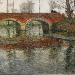 《法國河景觀石橋》弗里茨·索爾洛(Frits Thaulow)高清作品欣賞