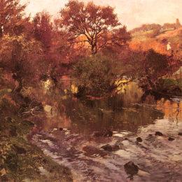 《金色的秋天,布列塔尼犬》弗里茨·索爾洛(Frits Thaulow)高清作品欣賞