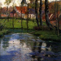 《河邊的老教堂》弗里茨·索爾洛(Frits Thaulow)高清作品欣賞