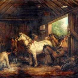 《穩定的內部》喬治·默蘭德(George Morland)高清作品欣賞