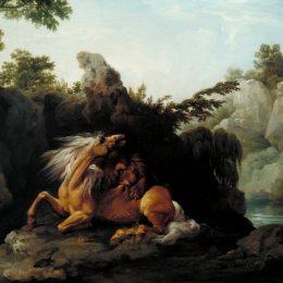 《被獅子吞食的馬》喬治·斯塔布斯(George Stubbs)高清作品欣賞