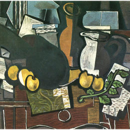 《吉他、水果和投手》喬治·布拉克(Georges Braque)高清作品欣賞