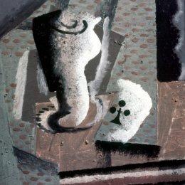 《玻璃棺材和菲利普斯王牌的靜物》喬治·布拉克(Georges Braque)高清作品欣賞