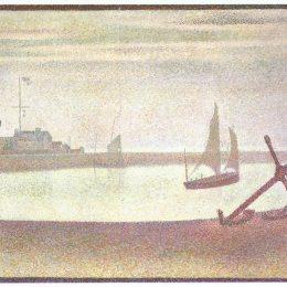《晚上的碎石路》喬治·修拉(Georges Seurat)高清作品欣賞
