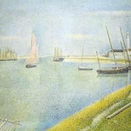 《在礫石的海峽,在海洋的方向》喬治·修拉(Georges Seurat)高清作品欣賞