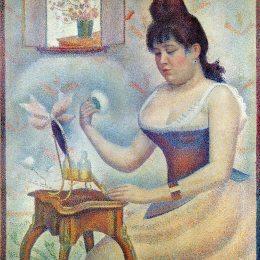 《擦粉的女人》喬治·修拉(Georges Seurat)高清作品欣賞