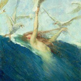《被海鷗圍困的美人魚》喬凡尼·塞岡提尼(Giovanni Segantini)高清作品欣賞