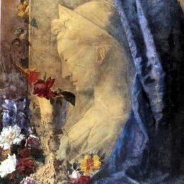 《與塞西莉亞的靜物畫》喬凡尼·塞岡提尼(Giovanni Segantini)高清作品欣賞