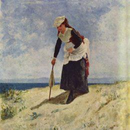 《海灘上的女人》朱塞佩·德·尼蒂斯(Giuseppe de Nittis)高清作品欣賞