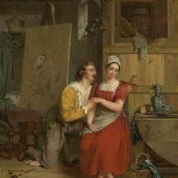 《Anthony van Dyck愛上了他的模特》古斯塔夫·瓦普爾斯(Gustaf Wappers)高清作品欣賞
