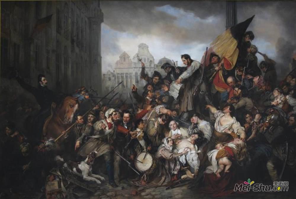 古斯塔夫·瓦普尔斯(Gustaf Wappers)高清作品《集》(1830年九月天大的地方。》
