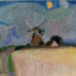 古斯塔夫德斯梅特(Gustave de Smet)高清作品:A windmill in a landscape, Het Gooi