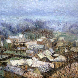 《蓬圖瓦茲的冬天》古斯塔夫·洛伊索(Gustave Loiseau)高清作品欣賞