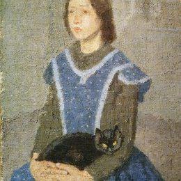 《帶貓的女孩》格溫·約翰(Gwen John)高清作品欣賞