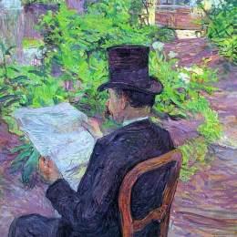 《希望德豪在花園里讀報》亨利·瑪麗·雷蒙·德·圖盧茲-勞特累克(Henri de Toulouse-Lautrec)高清作品欣賞