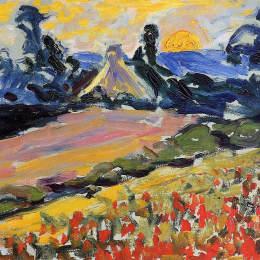 《日落山水》亨利·埃德蒙·克羅斯(Henri-Edmond Cross)高清作品欣賞