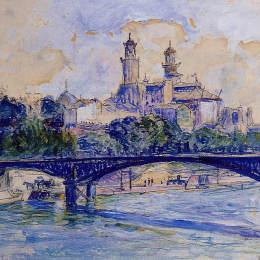《在塞納河的附近》亨利·埃德蒙·克羅斯(Henri-Edmond Cross)高清作品欣賞