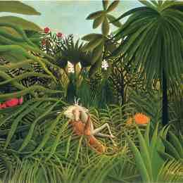 《美洲虎攻擊馬》亨利·盧梭(Henri Rousseau)高清作品欣賞