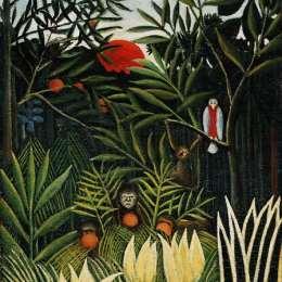 《猴子的風景》亨利·盧梭(Henri Rousseau)高清作品欣賞