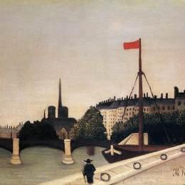 亨利·盧梭(Henri Rousseau)高清作品:Notre Dame View of the Ile Saint Louis from the Quai Henri I