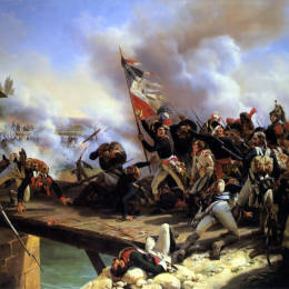 賀拉斯·貝內特(Horace Vernet)高清作品:Napoleon Bonaparte leading his troops over the bridge of Arc