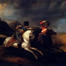 《兩個騎馬的士兵》賀拉斯·貝內特(Horace Vernet)高清作品欣賞