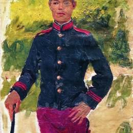 《年輕的士兵。巴黎風格》伊利亞·葉菲莫維奇·列賓(Ilya Repin)高清作品欣賞