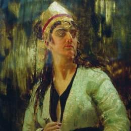 《戴匕首的女人》伊利亞·葉菲莫維奇·列賓(Ilya Repin)高清作品欣賞