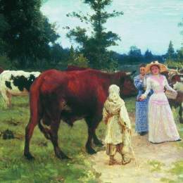 《小鹿在牛群中行走》伊利亞·葉菲莫維奇·列賓(Ilya Repin)高清作品欣賞