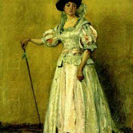《服裝中的女性肖像》恩·安德烈斯丘(Ion Andreescu)高清作品欣賞