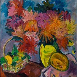 《大麗花和水果的靜物》伊爾瑪·斯特恩(Irma Stern)高清作品欣賞