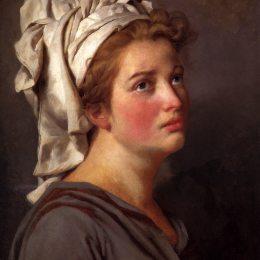 《戴頭巾的年輕女子肖像》雅克-路易·大衛(Jacques-Louis David)高清作品欣賞