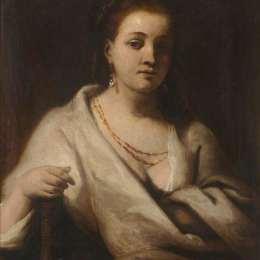 詹姆斯·巴里(James Barry)高清作品:Hendrickje Stoffels in a White Cloak (copy after Rembrandt)