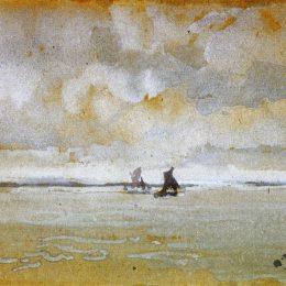 《泰晤士河的灰色音符口》詹姆斯·阿博特·麥克尼爾·惠斯勒(James McNeill Whistler)高清作品欣賞