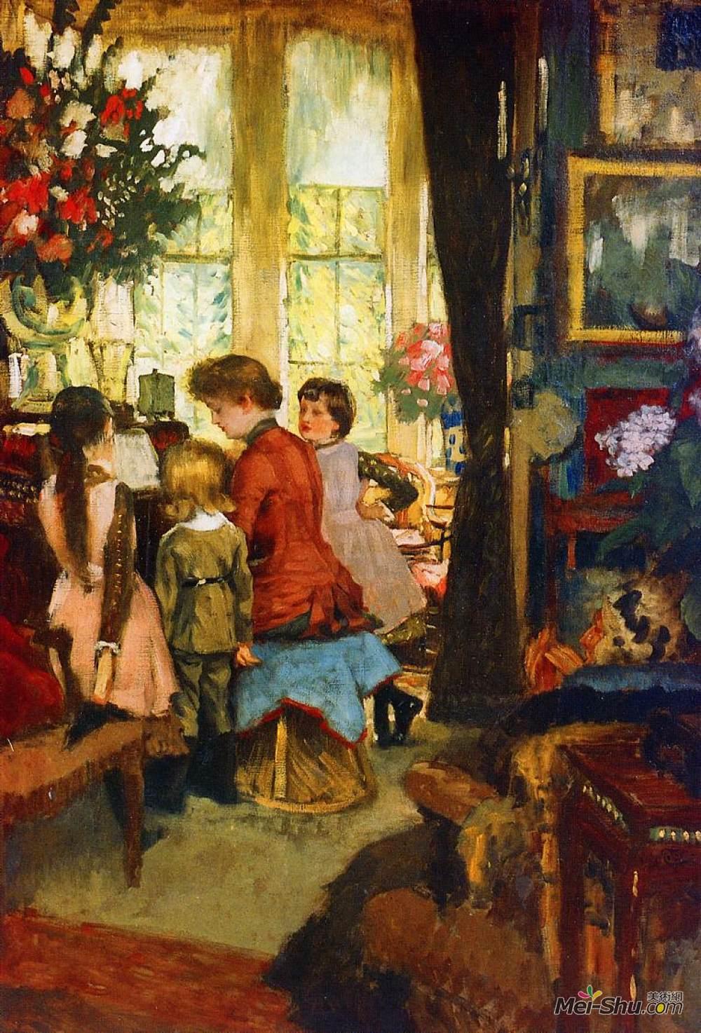 雅姆·蒂索(James Tissot)高清作品《Kathleen Newton at the Piano》