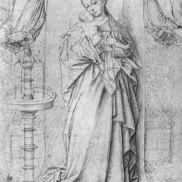 《由噴泉復制麥當娜的繪圖》揚·凡·艾克(Jan van Eyck)高清作品欣賞